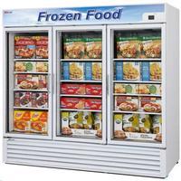 Turbo Air TGF72FN Glass Door Freezer Merchandiser 3 Swing Doors 8178 Length 72 CuFt White