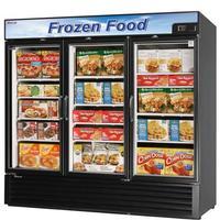 Turbo Air TGF72FBN Glass Door Freezer Merchandiser 3 Swing Doors 8178 Length 72 CuFt Black