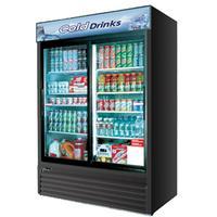 Turbo Air TGM48RBN Glass Door Merchandiser Refrigerator 2 Sliding Doors 5578 Length 44 Cu Ft Black