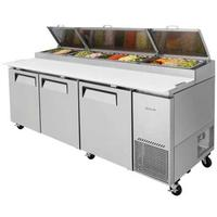 Turbo Air TPR93SDN Refrigerated Counter Deli Pizza Prep Table 3 Doors 93 Length 12 13 Size Pans Casters