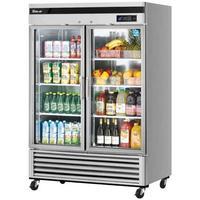 Turbo Air TSR49GSDN Glass Door Refrigerator 2 Swing Doors 5438 Length 44 CuFt Casters