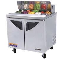 Turbo Air TST36SD Refrigerated Counter Sandwich Salad Prep Table 2 Doors Includes 10 16 Size Insert Pans 3638 Long 5 Casters Super Deluxe Series