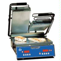 DoughPro SL1577 Panini Grill Electric Fixed Lower Grill Split Upper Grill Smooth Aluminum Plates Automatic Timer Digital Time and Temperature ProGrill Heavy Duty Series