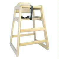 Thunder Group WDTHHC018 Infant High Chair Safety Harness Straps Wide Stance Rubber Wood Construction Natural Finish Priced Each Sold in Pallets of 8
