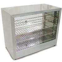 Omcan 26086 Straight Glass Heated Countertop Display Merchandiser 86F 185F 25 Length Rear Doors