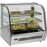 Omcan 39535 Curved Glass Heated Countertop Display Merchandiser 86F 180F 3 Adjustable Shelves 27 Long Rear Sliding Doors