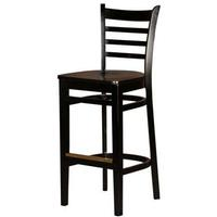 Oak Street WB101BLK Bar Stool Ladder Back Solid Wood Beech Frame Black Finish Matching Black Wooden Seat Std Priced Each Sold in Pallets of 8