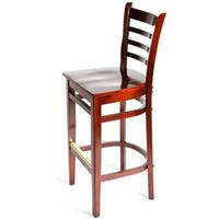 Oak Street WB101MH Bar Stool Ladder Back Solid Wood Beech Frame Mahogany Finish Matching Mahogany Wooden Seat Std Priced Each Sold in Pallets of 8