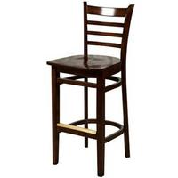 Oak Street WB101WA Bar Stool Ladder Back Solid Wood Beech Frame Walnut Finish Matching Walnut Wooden Seat Std Priced Each Sold in Pallets of 8