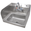 John Boos PBHSW1410PSSLRX Hand Sink Wall Mount 14 Wide x 10 Front to Back 5 Deep Bowl With Splash Mounted Faucet Holes 4 on Center Splash Guards Mounting Bracket NS