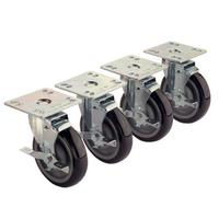 Krowne 28101S Plate Casters With Lock 220 Lb Load Capacity 3 Diameter Set of Four 4