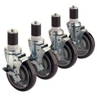 Krowne 28129S Stem Casters With Brake 5 Diameter 220 Capacity Fits 1 58 Tubing Set of Four 4