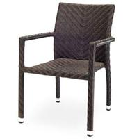 Source Contract SC207381 Stacking Arm Chair IndoorOutdoor Use HDPE Synthetic Resin Wicker Espresso Miami Series Priced Each sold in units of 12