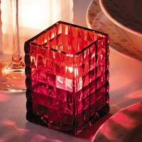 Hollowick 1533R Ruby Optic Block Glass Candle Lamp Priced Each Sold in Case of 12